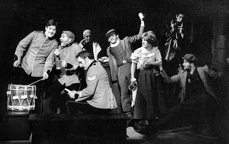 L to R: Ian McKellen, James Cairncross, Gabrielle Hamilton, Andrew Keir, Peter Griffin, Josie Kidd, Gawn Grainger, Mark Follett. <BR><BR><em>Despite the songs and occasional jollity, this was the most depressing play to act in — we all agreed.</em>