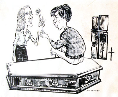 Cartoon: by Hewison in Punch Magazine: Jennifer Hilary (Zoe) and Ian McKellen (Godfrey) - I bought the original drawing which accompanied the Punch review, starting a collection of Hewison's work which I discontinued a decade or so later.