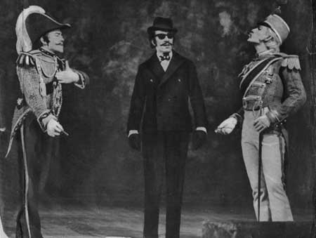As Claudio (Old Vic, 1965)<br>               With Albert Finney (L) as Don Pedro and <br>               Robert Stephens (C) as Benedick