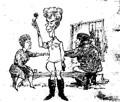 Cartoon from Punch by Hewison: Judi Dench (in Act 3 costume), Ian McKellen (Act 2), and Ian McShane (Act I)<br><em>Hewison</em>