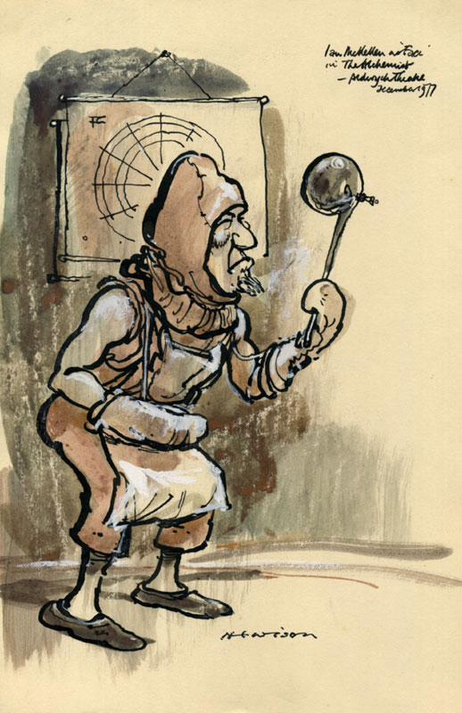 Hewsion's cartoon: Ian McKellen  (Face in disguise as the alchemist's apprentice)<br><em>Hewison</em>