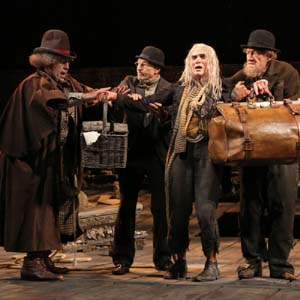 Pozzo (Shuler Hensley), Vladimir (Patrick Stewart), Lucky (Billy Crudup), and Estragon (Ian McKellen) in Waiting for Godot