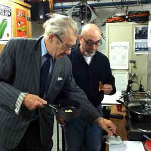 Ian McKellen and Rob Brenner preparing Spooner's breakfast backstage at the Cort Theatre January 18, 2014