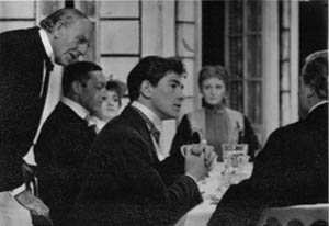 L to R: Allan Jeayes, John Scarborough, Bridget Turner, Ian McKellen, Sheila Keith, Ronald Magill. <BR><BR><em>The regular company was joined by Allan Jeayes (Walter, the waiter), a distinguished veteran from Alexander Korda's romantic British films.  Being nearly 80, he had trouble remembering his lines, although in this scene he singlehandedly served a four-course meal in under 15 minutes! </em>