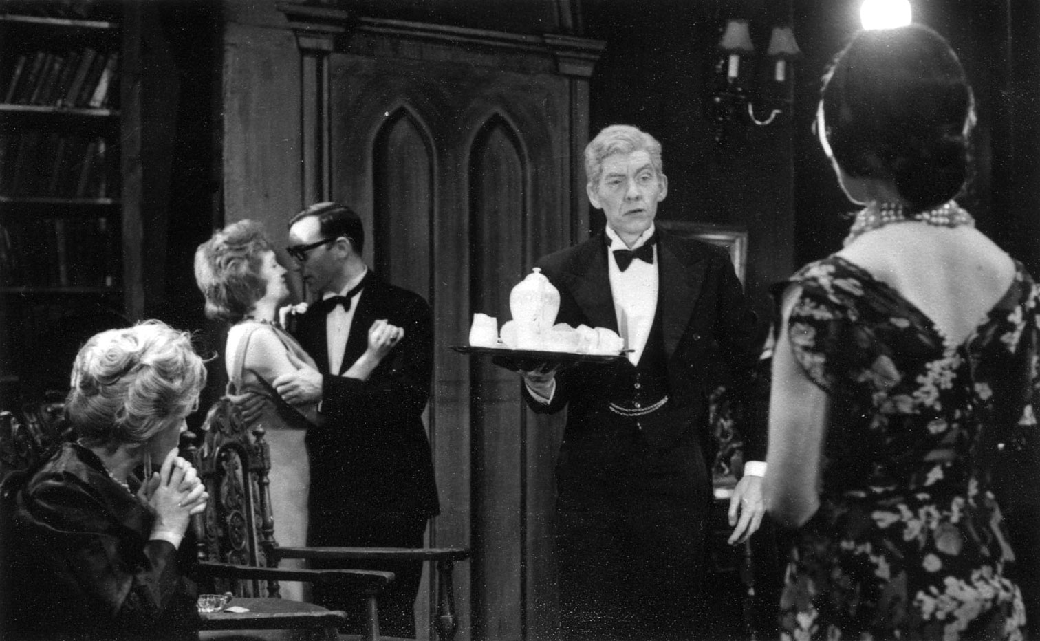 L to R: Bridget Turner, John Scarborough, Ian McKellen, Kristine Howarth.<BR><BR><em>I played the ancient butler (Tredwell) with hesitant gait and powdered hair.</em>