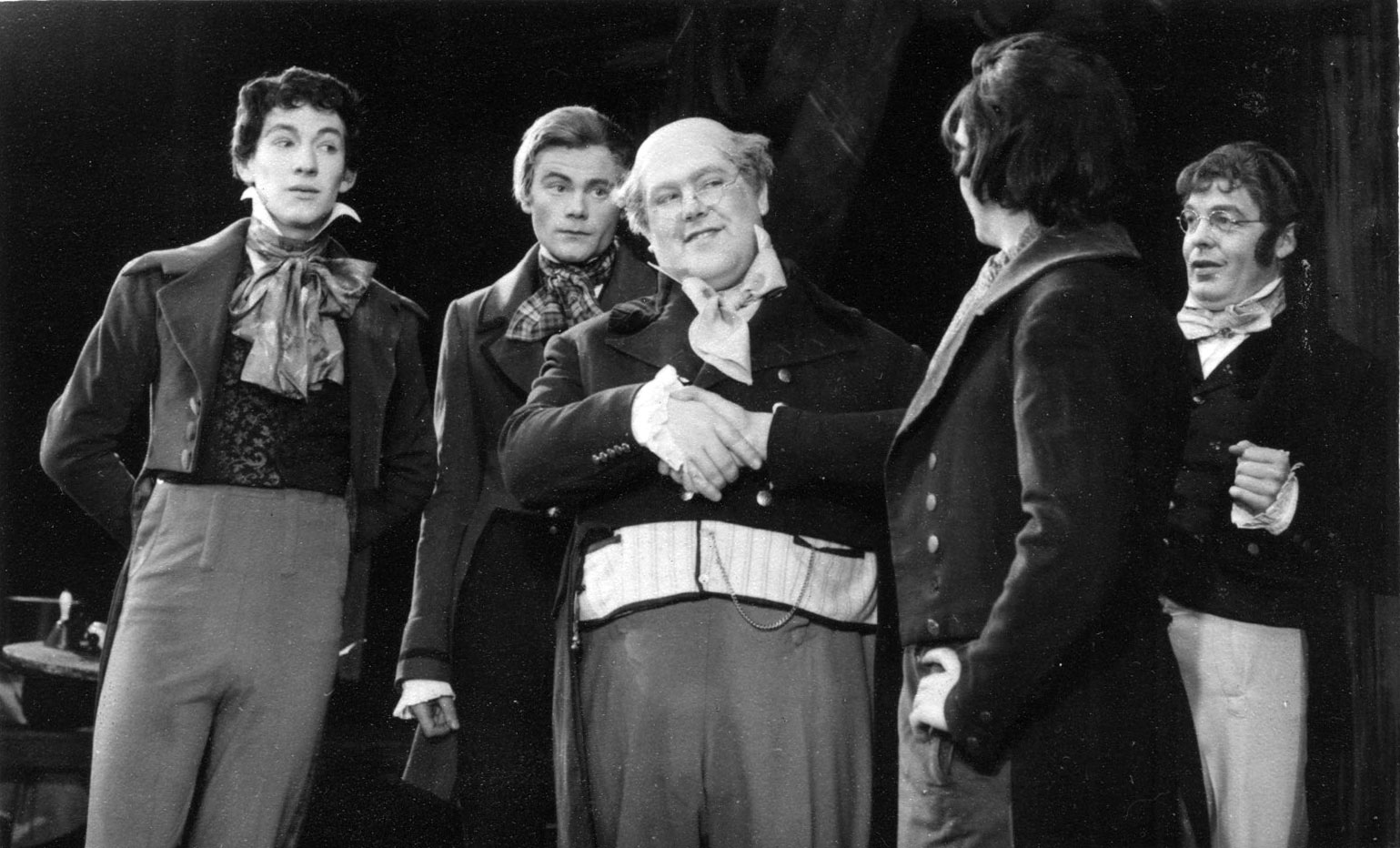 L to R: Snodgrass (Ian McKellen), Winkle (Peter French), Pickwick (Patrick Newell), Jingle (Bernard Kilby), Tupman (Alan Haywood)