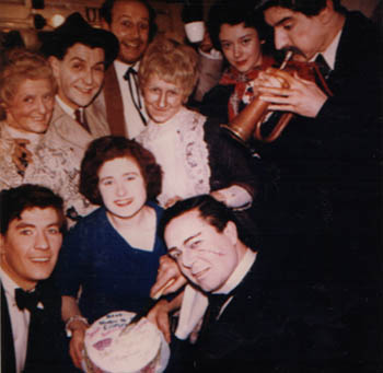 Backstage party: Surrounding a local fan holding a cake, clockwise from lower left: Ian McKellen, Doreen Andrews, Stephen MacDonald, Roger Hammond, Josie Kidd, Roberta Maxwell, Gawn Grainger, Brendan Barry