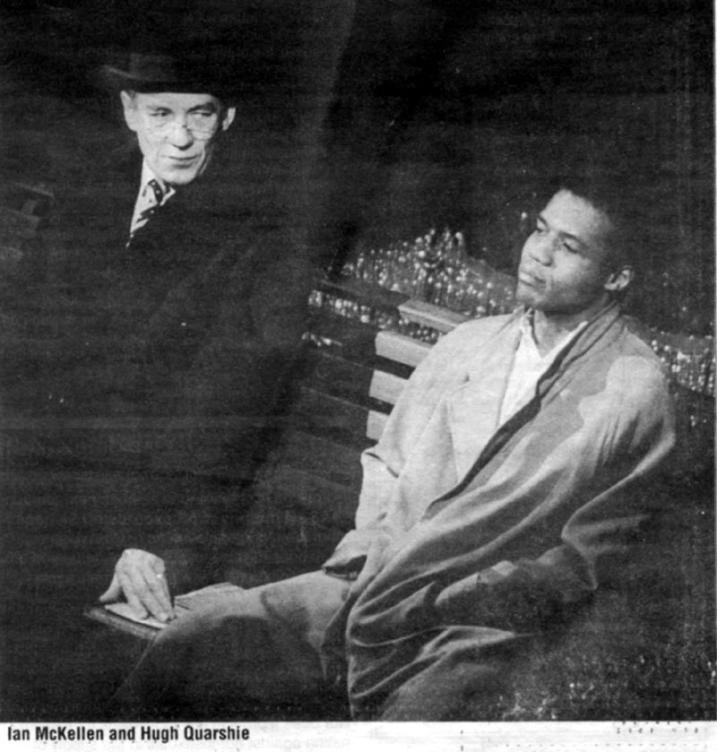 5 June 1988<br>Uncle Freddie (Ian McKellen) and Max (Hugh Quarshie) in a scene from Martin Sherman's 'Bent' for 'Before the Act' gala to protest Section 28<br /><em>Bill Short</em>