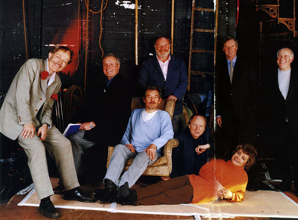 Some of the leading lights of British stage and screen whose careers began in the Cambridge Arts Theatre.  From left: Michael Pennington, Julian Pettifer, Ian McKellen, Timothy West, John Bird, Prunella Scales, John Fortune, Clive Swift<br><em>Steve Pyke</em>