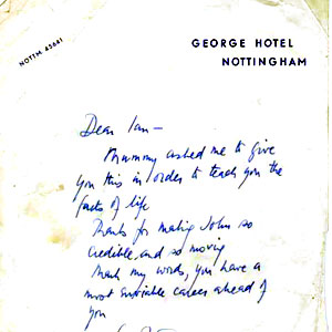 <em>Peter Ustinov had bought his first night gifts at Nottinghams Russian shop.  Mine was a collection of inter-connecting wooden dolls and, referring to my characters suspicion that he is illegitimate, the author sent me this very encouraging note.</em>