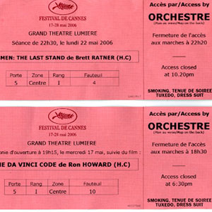Premiere screening tickets, Cannes 2006