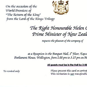 Invitation to pre-parade reception at Parliament House, Wellington, 1 December 2003