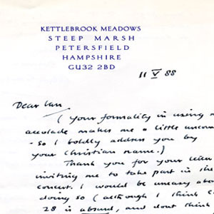 11 May 1988<br>Letter from Alec Guinness