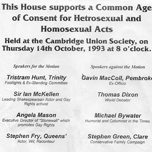 14 October 1993<br>Bill for Cambridge debate on Age of Consent