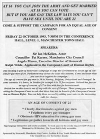 22 October 1993<br>Notice of meeting in Manchester regarding age of consent