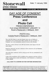 11 January 1994<br>Stonewall press release regarding age of consent