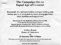12 January 1994<br>Invitation to meeting at House of Commons regarding Age of Consent