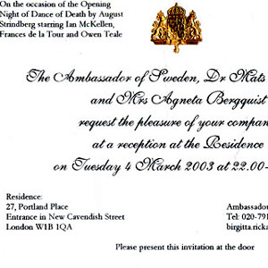 Invitation to reception in honour of Opening Night, 4 March 2003