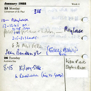 Diary page showing Arts Lobby activities on Monday 25 January 1988 and 7:00 Radio Interview on Wednesday 27 January, notable as the occasion when I came out publically.