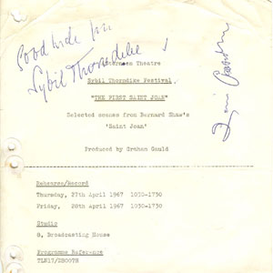 Production cover page autographed by Sybil Thorndike