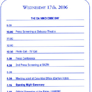THE DA VINCI CODE DAY calendar of events, 17 May 2006, Cannes