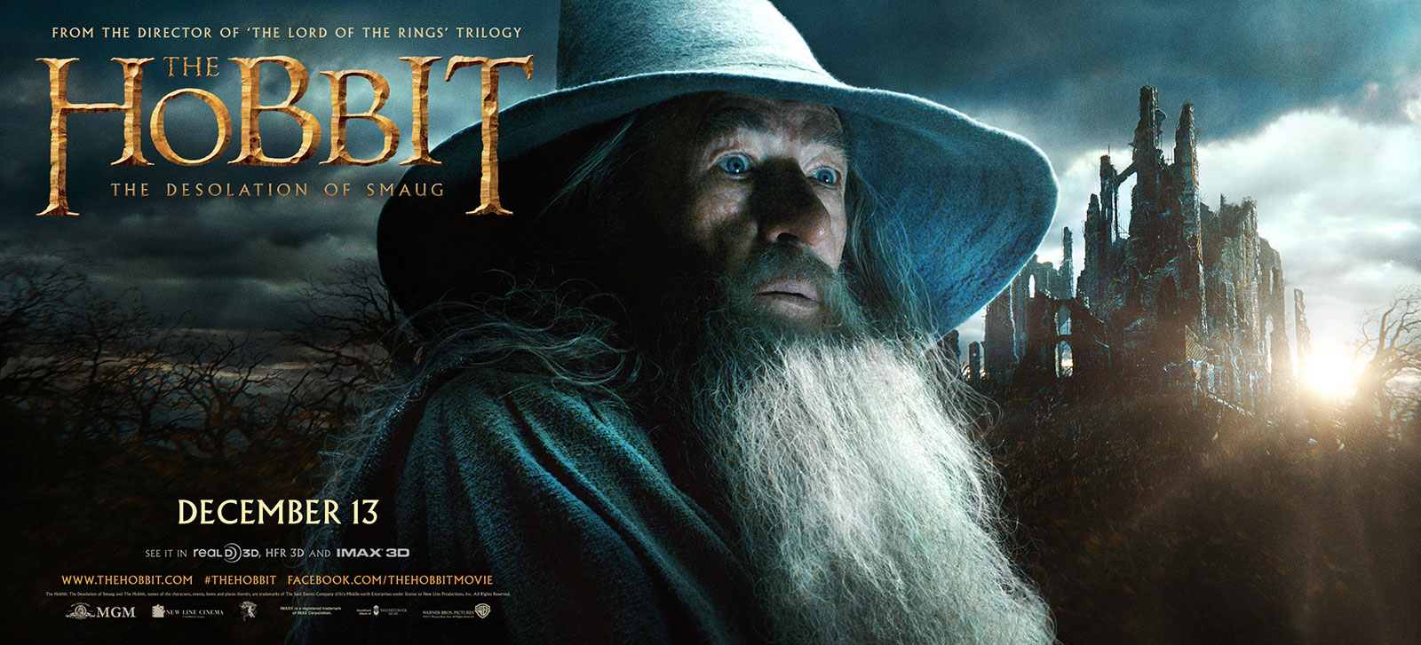 Billboard for THE HOBBIT: THE DESOLATION OF SMAUG featuring Ian McKellen as Gandalf