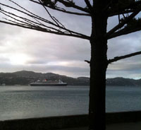 The QM2 in Wellington Harbour