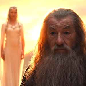 2012, THE HOBBIT: Gandalf the Grey with Galadriel in background