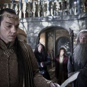 2012, THE HOBBIT: Elrond (Hugo Weaving) and Gandalf (Ian McKellen