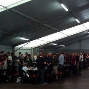 2011, THE HOBBIT: A moment of silence for Christchurch earthquake victims, in the food tent at Stone Street Studios, 7 March 2011