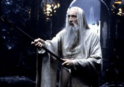 Christopher Lee as Saruman, Photo by Pierre Vinet / New Line Cinema