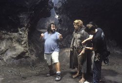 Peter Jackson (left) suggests to Sean Astin (Sam) how he might confront Shelob