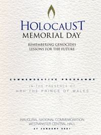 27 January<br>Programme for Holocaust Memorial  Day, when I spoke
