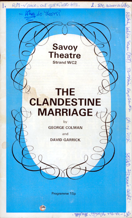 Programme with Director Ian McKellens first-night notes scrawled along the edges<br><em> </em>