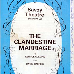 1975, THE CLANDESTINE MARRIAGE: Programme with Director Ian McKellens first-night notes scrawled along the edges
