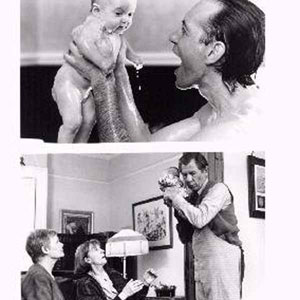 (Top) Jack (RICHARD E. GRANT) shares a bath with daughter Sarah in the Gramercy Pictures release Jack and Sarah, a Tim Sullivan film.  (Bottom) (Left to right) Grandmothers Margaret (JUDI DENCH) and Phil (EILEEN ATKINS) are somewhat anxious of the child-rearing skills of nanny/cook/valet William (IAN MCKELLEN) in the Tim Sullivan film Jack and Sarah, a Gramercy Pictures Release
