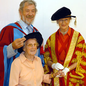 Sir Ian McKellen with his mother Gladys and Princess Alexandra after receiving his honorary degree at Lancaster University.