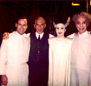 1997, GODS AND MONSTERS: Matt McKenzie (Colin Clive), Ian McKellen (James Whale), Rosalind Ayres (Elsa Lanchester) and Arthur Dignam (Ernest Thesiger) on the set of Gods and Monsters