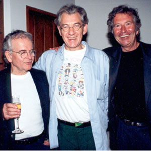 2000, THE LORD OF THE RINGS: THE FELLOWSHIP OF THE RING: With Ian Holm (Bilbo) and Robert Shaye (New Line Cinema)