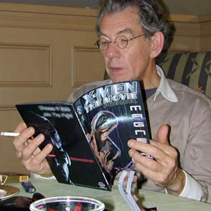 2000, X-MEN: Reading X-Men the Movie Prequel comic  - Photo by Keith Stern