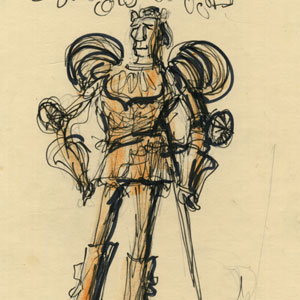 Ian McKellen as King Richard II  in Act 2 armour, sketched at Assembly Hall, Edinburgh.
