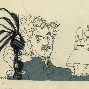 Sketched at Edinburgh Festival. Ian  McKellen  (Dr. Faustus with Bad and Good Angels)
