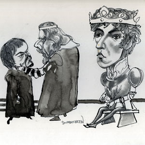 Unpublished drawing by Donald Green: Timothy West (Bolingbroke), Robert Eddison (as his uncle York)  with Ian McKellen as King Richard