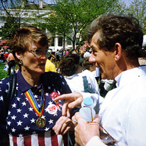 1993,   At the March on Washington with Marguerite Cammermeyer (US military officer discharged for being a lesbian)