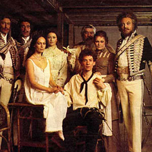 Francesca Annis (Juliet) and Ian McKellen (Romeo) sitting with the cast of 1976 RSC Much Ado About Nothing, left to right: Robin Ellis (Don Pedro), Richard Durden (Claudio), Cherie Lunghi (Hero), Ivan Beavis (Leonato), Judi Dench (Beatrice), Donald Sinden (Benedick)
