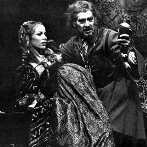 1974, DR FAUSTUS: Mephistophiles (Emrys James), Duchess of Vanholt (Jean Gilpin), and Dr Faustus (Ian McKellen)  - Photo by Donald Cooper
