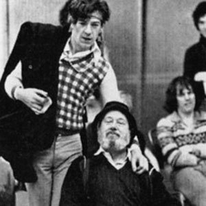 Ian McKellen (Romeo) and David Waller (Friar Lawrence) in rehearsal with Richard Durden and Greg Hicks