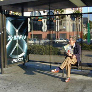 2000, X-MEN: Waiting for the bus on Sunset Blvd, Hollywood  - Photo by Keith Stern