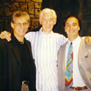 1997, GODS AND MONSTERS: Ian McKellen with producers Mark Harris & Paul Collichman (Regent Pictures) on set at Occidental Studios, Los Angeles