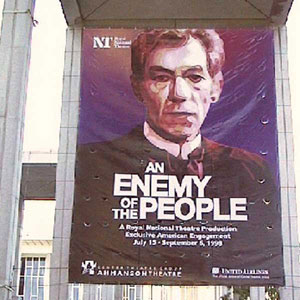 Banner outside the Ahmanson Theatre